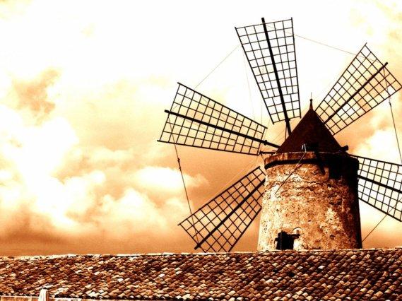 Resultado de imagem para desenho de moinhos de vento e um menino